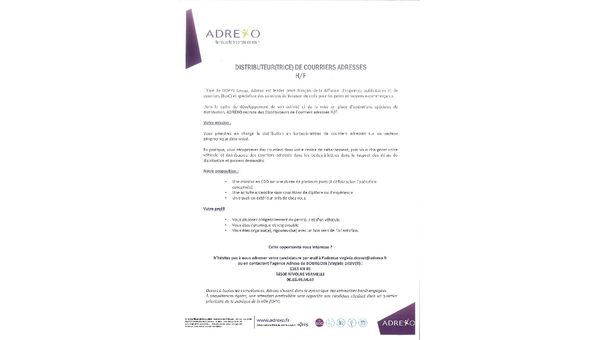 RECRUTEMENT DISTRIBUTEUR(TRICE) COURRIERS CDD